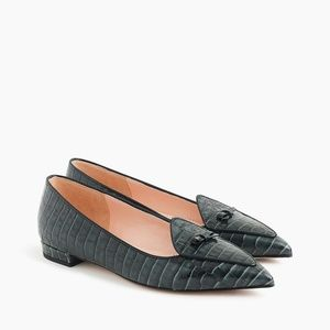 J. Crew Pointed Toe Loafer in Croc-Embossed Croc